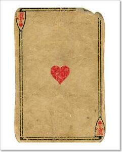 Antique Used Playing Card Ace Of Hearts Art Print Home Decor Wall Art Poster