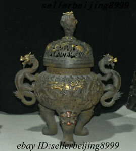 Old China Purple Bronze Gold Dragon Loong Beast Lion Head Incense Burner Censer