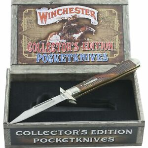 Winchester Brown Checkered Bone Collectors Ed Swing Guard Lockback Pocket Knife