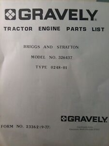 Gravely 816S Garden Tractor Engine 326437 Briggs Stratton 16 hp Parts (2 Manuals