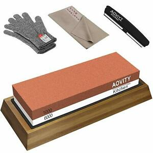 AOVITY Double-sided knife sharpening whetstone for both stainless steel  F / S