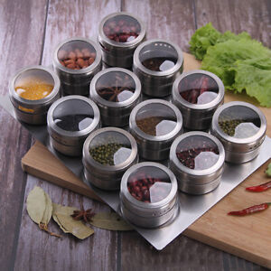 AB_ Magnetic Spice Storage Container JarTins With Rack Holder Stainless Steel