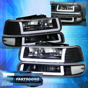 For 99 02 Silverado Tahoe LED DRL Black Housing Clear Lens Headlights Assembly