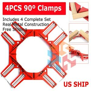 4PCS Metal Handle 90 Degree Right Angle Clamp Photo Frame Corner Clip USA $14.95