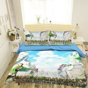 3D Attack On Titan S05 Japan Anime Bed Pillowcases Quilt Duvet Cover Double Su