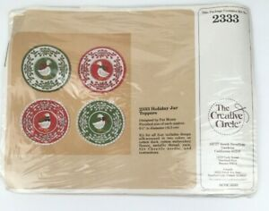 Creative Circle # 2333 Holiday Jar Toppers Embroidery Sewing Kit Vintage 1986 $12.99
