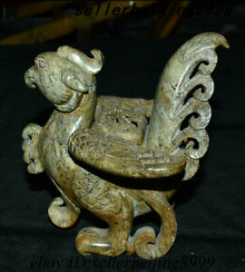 6 Chinese Xinjiang Jade Stone Animal Bird Phoenix Incense Burner Censer Statue