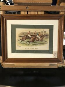 Horse Racing 1880's Chromolithography Pair 13 1 2 X10 1 2 Frame Signed $60.00