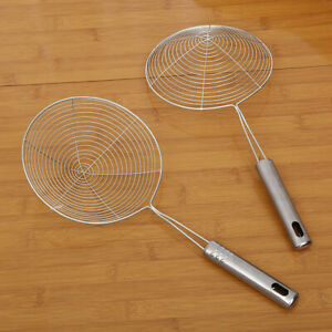 CW_ Long Stainless Steel Kitchen Strainer Frying Food Skimmer Ladle Colander