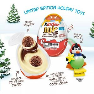 Kinder Joy Creme Chocolate Eggs Special Edition Christmas Holiday Toys 8 Count