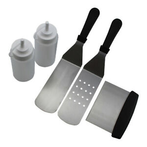 5Pcs Stainless Steel Griddle Cooking Tools Kit for Grill Salad Scraper Chopper