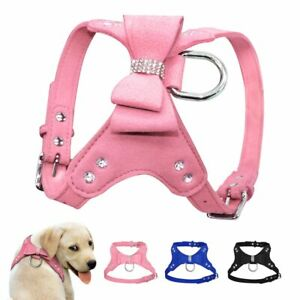 Harness Leather Dogs Harness Small Dog Bowknot Puppy Pet Harness Vest No Pull