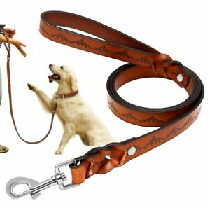 Dog Leash Real Leather Dogs Walking Lead Leashess Braid Pet High Quality