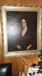 Antique 1800's - 19thc. Oil on Canvas Painting Portrait of Lady Lg Size