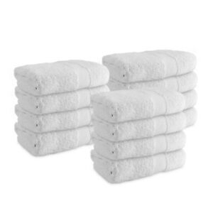 12 Pack of Admiral Hand Towels - White - 16 x 27 - Bulk Bathroom Cotton Towels