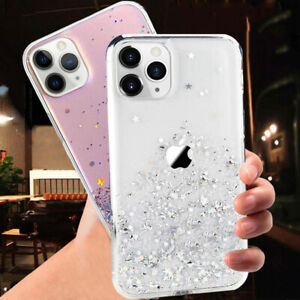 For iPhone 12 11 Pro XS MAX XR 8 7 6 Slim Cute Case Glitter Sparkle Clear Cover