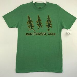 Mad Engine Mens Unisex S M L Graphic T Shirt Green Run Forest Run Short Sleeves $7.95