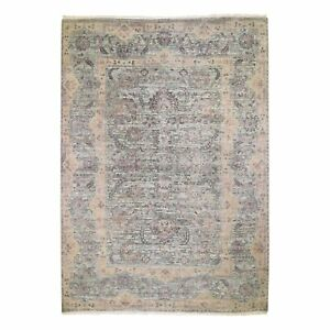 10'x14' Pure Silk With Textured Wool Tribal Design Hand Knotted Rug R48573