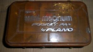 Vintage tackle box with fishing lures hooks flies etc.
