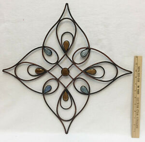 Wall Hanging Metal Decor Brushed Copper Ceramic Stone Accents 14