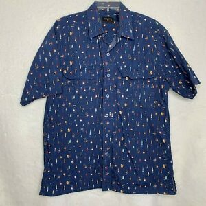Coleman Mens Fishing Shirt Size Large Blue Lures Fly Fishing
