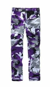 COMBAT CAMOUFLAGE TROUSERS PANTS FUNKY PUNK HIPPY TEENS XS SMALL PURPLE GREY 8