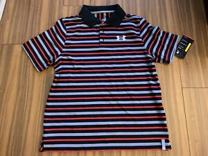 New Under Armour Boys Youth Loose Large Black Red Gray Polo T Shirts Top $40 $22.99