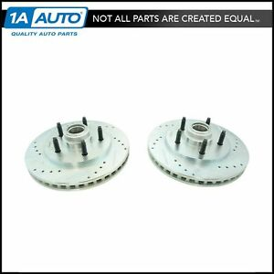 Performance Brake Rotor Drilled Slotted Zinc Coated Front Pair for Ford $114.25