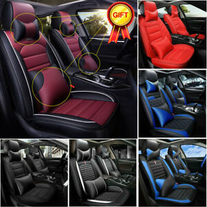 Car Seat Covers Top PU Leather Front & Rear Full Set Universal for 5 Seats Cars