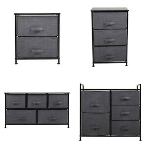 Nightstand Storage End Table Bedside Organizer Non woven Multi Drawers Bedroom