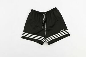 Vintage 90s Adidas Mens XL Spell Out Striped Lined Running Soccer Shorts Black $44.95