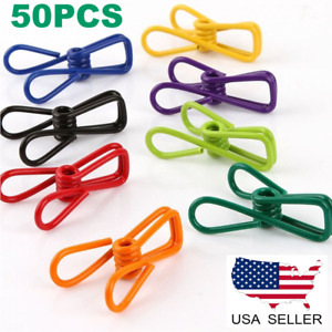 50PCS Multi Colorful PVC-Coated Steel Wire Peg Metal Clothes Drying Clips Holder