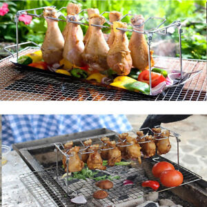 12Slot Chicken Wing Leg Drumstick Oven Barbecue Grill Rack Roasting with Tray QK