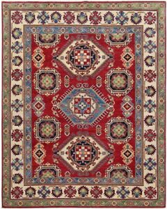 South-western Red/Ivory Kazak Hand-Knotted Area Rug Geometric Oriental Carpet