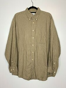 Brooks Brothers Sport Shirt Brown Long Sleeve Button Polo Plaid Flannel Sz Large $17.00