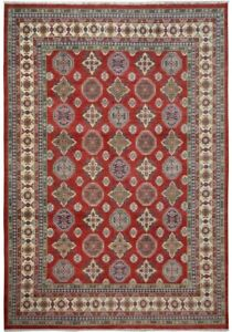 Geometric South-western Super Kazak Area Rug Hand-Knotted Red/Ivory/Blue 9x12