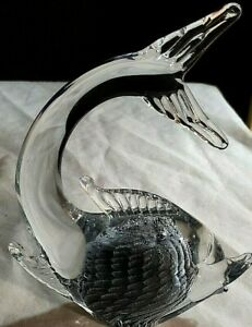 MURANO SILVER AND CLEAR FISH SMALL IN ART GLASS CRYSTAL $200.00