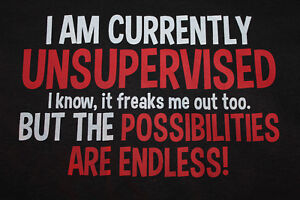 currently unsupervised graphic funny t shirt tee novelty boy girl youth clothes