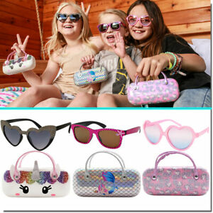 GIRLS SUNGLASSES WITH CASE HEART SHAPE UNICORN CASES CUTE COMBO SET STYLES NEW