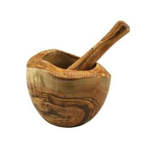 OLIVE WOOD RUSTIC MORTAR AND PESTLE 6.3