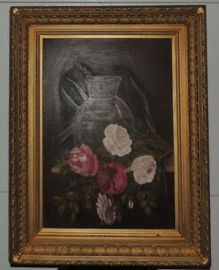Antique Victorian still life roses  oil painting Magnificent Vintage Frame