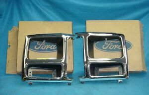 PAIR NOS 80 81 82 83 84 85 86 FORD TRUCK BRONCO HEAD LIGHT LAMP BUCKET BEZEL