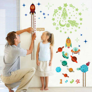 Kids Baby Planets Space Rocket Height Chart Measure Home Wall Sticker Room Decor $7.51