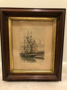 Frigate Jylland Signed Antique Print Etching Dutch Maritime Port Harbor Ship c
