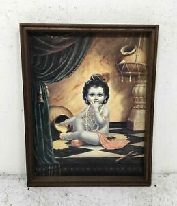 Lithograph On Textured Paper Baby Vishnu