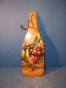 Wine Bottle Shaped Glass Cheese Cutting Board  Grapes