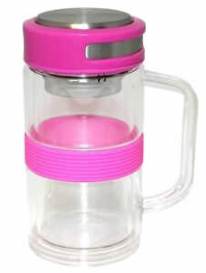 Gourmet Home Products Double Wall Borosilicate Glass Mug with Stainless Steel St