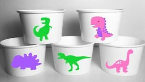 Girl Dinosaur Party Cups Birthday SET/12 Food Favor Bowls Dinosaurs Pink