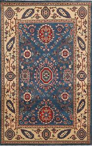 BLUE/IVORY 4x6 Kazak Geometric Oriental Area Rug Hand-Knotted Vegetable Dye Wool