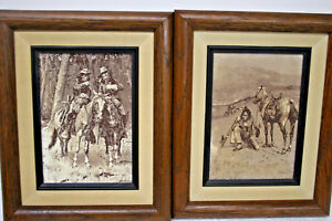 LITHOGRAPH ETCHINGS by FREDERIC REMINGTON NATIVE AMERICAN COWBOY ARTIST 2 Count